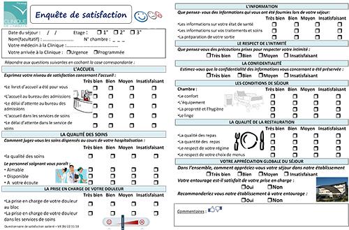 Clinique de l'Abbaye - Questionnaire de Satisfaction